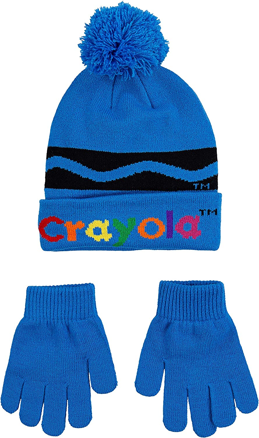 Crayola Childrens Apparel Kids Little Soft Knit Beanie Hat and Gloves 2-Piece Set One Size Blue