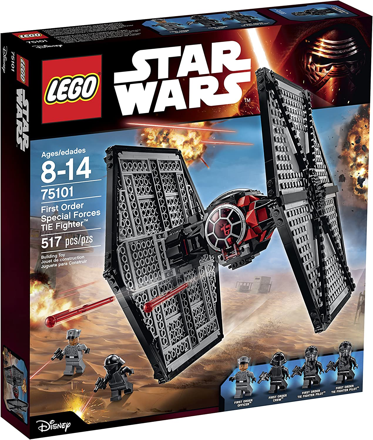 sw0621 Lego Tie Fighter Pilot Minifigure From Star Wars Sets 75106 75128 75082