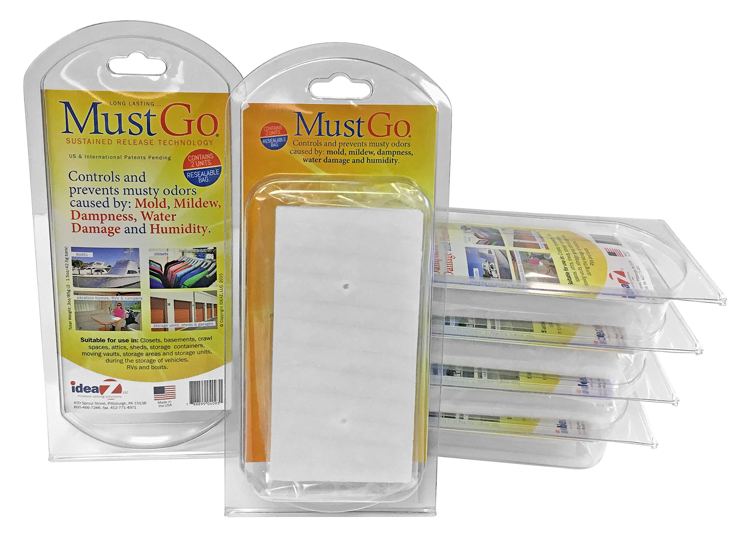 MustGo Odor Eliminator Solid Bars - Controls and Prevents Damp, Musty, Mildew Odors in Closets, Basements, Attics and Storage Units - Unscented (6 x 2 Pack)