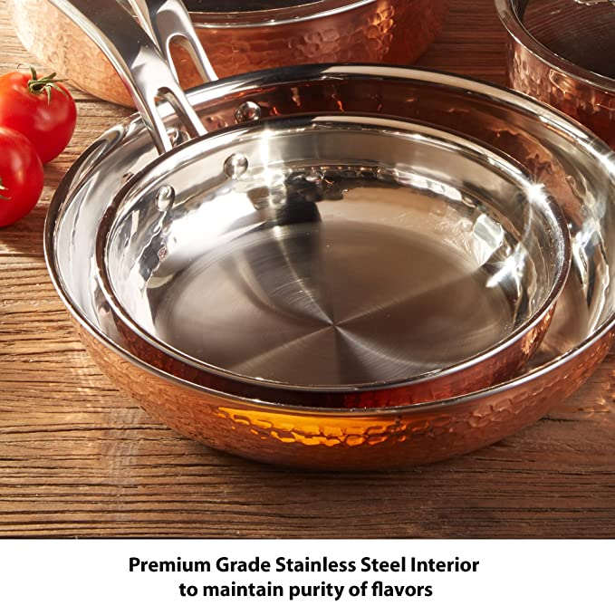 Lagostina q553sa64 martellata tri-ply martillado acero inoxidable lavavajillas Horno y utensilios de cocina Set: Amazon.es: Hogar