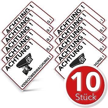 Hinweis Aufkleber Türschild Warnschild Sticker Alarmgesichert Videoüberwacht