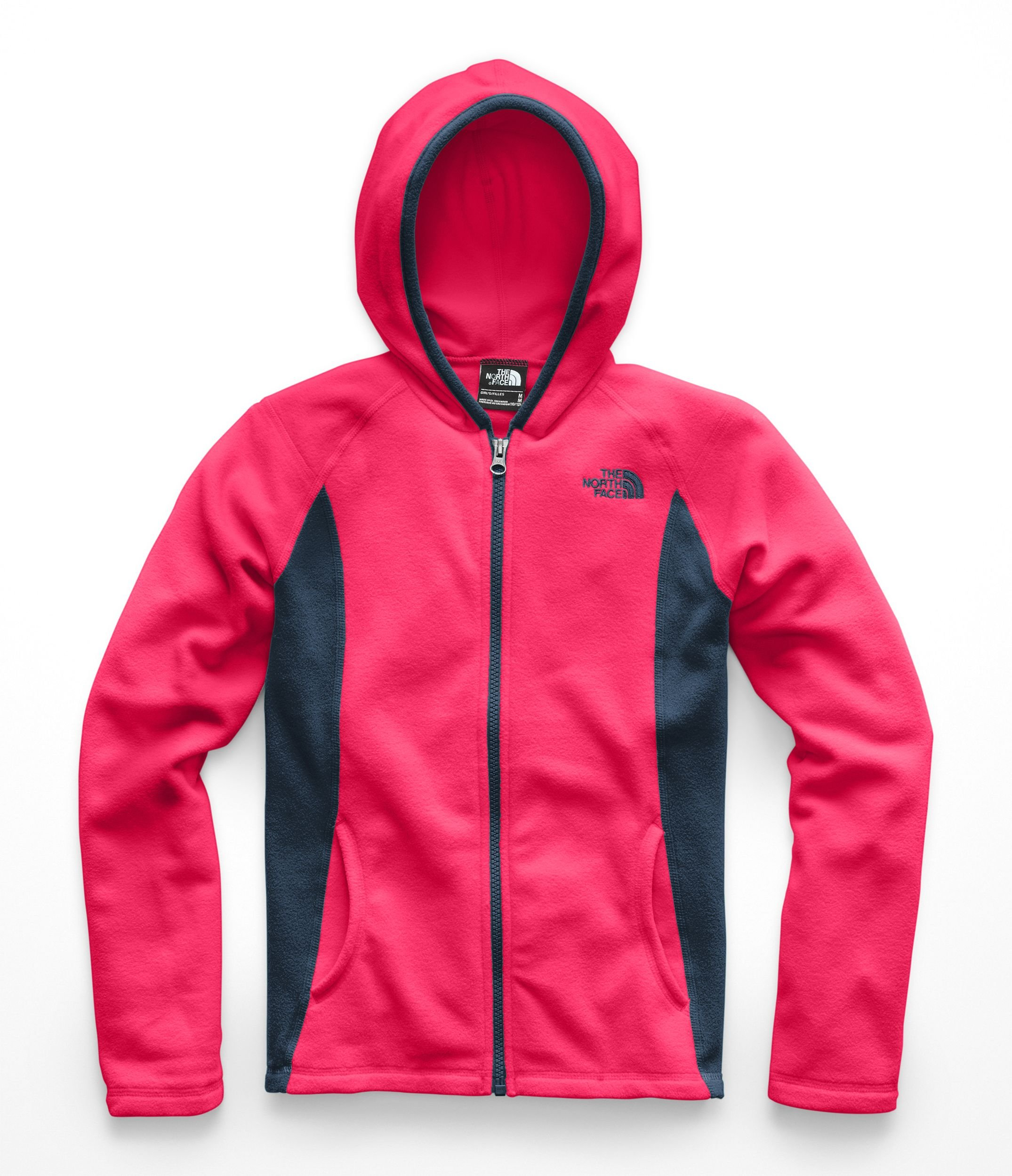 The North Face Girls Glacier Full Zip Hoodie - Atomic Pink - S