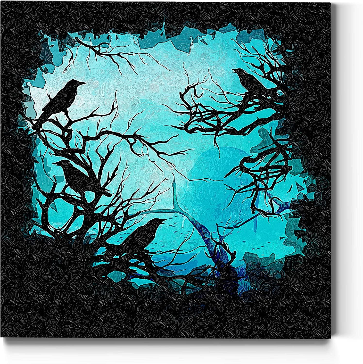 Renditions Gallery Haunted Forest Wall Art, Spooky Halloween Decorations, Black Crows, Ravens, Colorful, Premium Gallery Wrapped Canvas Decor, Ready to Hang, 24 in H x 24 in W, Made in America Print
