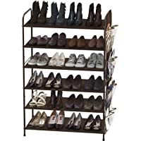 Simple Houseware 6-Tier Shoe Rack Storage Organizer w/Side Hanging Bag, Bronze
