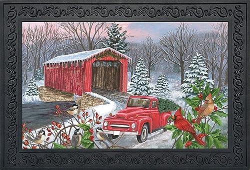 Winter Covered Bridge Seasonal Doormat Pickup Truck Indoor Outdoor 18 x 30