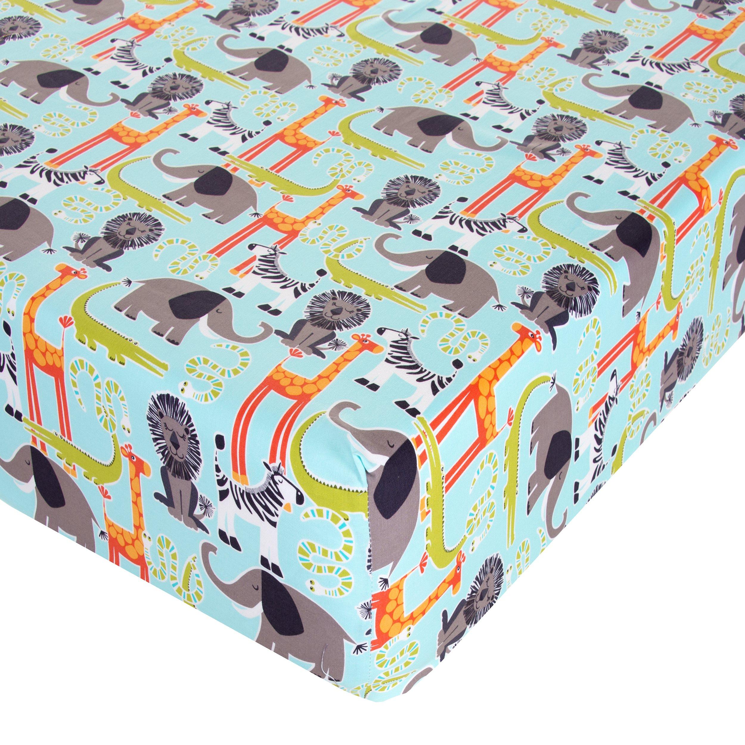 Glenna Jean Jungle Babies Crib Sheet Fitted 28''x52''x8'' Nursery Standard