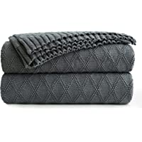 Charcoal Grey Cotton Throw Blanket for Couch Sofa Bed - Home Decorative Soft Cozy Sweater Fall Cable Knit Blankets -Dark…