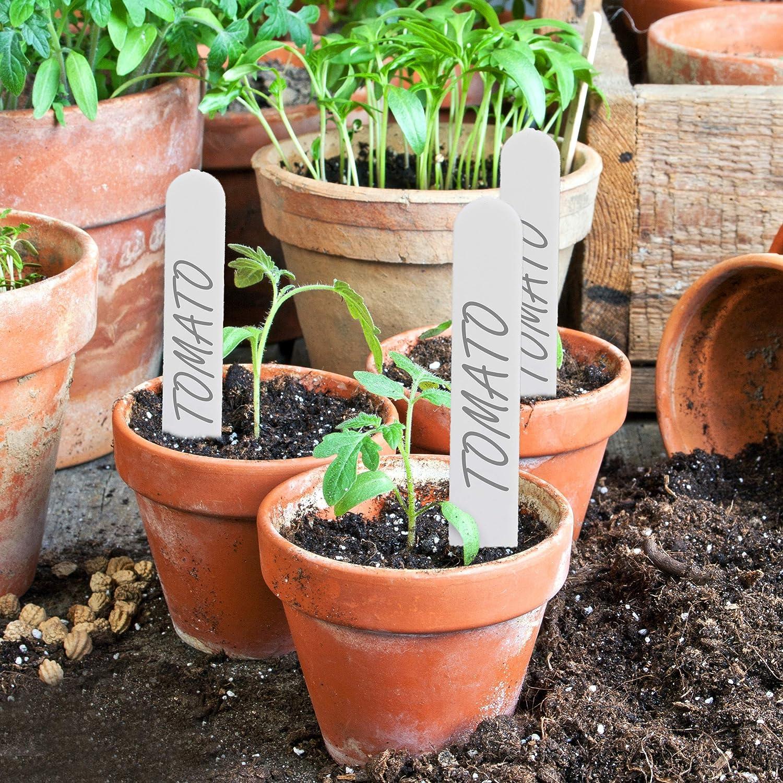 wei/ß Beet /& Anzucht Kunststoff Pflanzenstecker Relaxdays Stecketiketten 300er Set zum Beschriften 13cm lang Garten