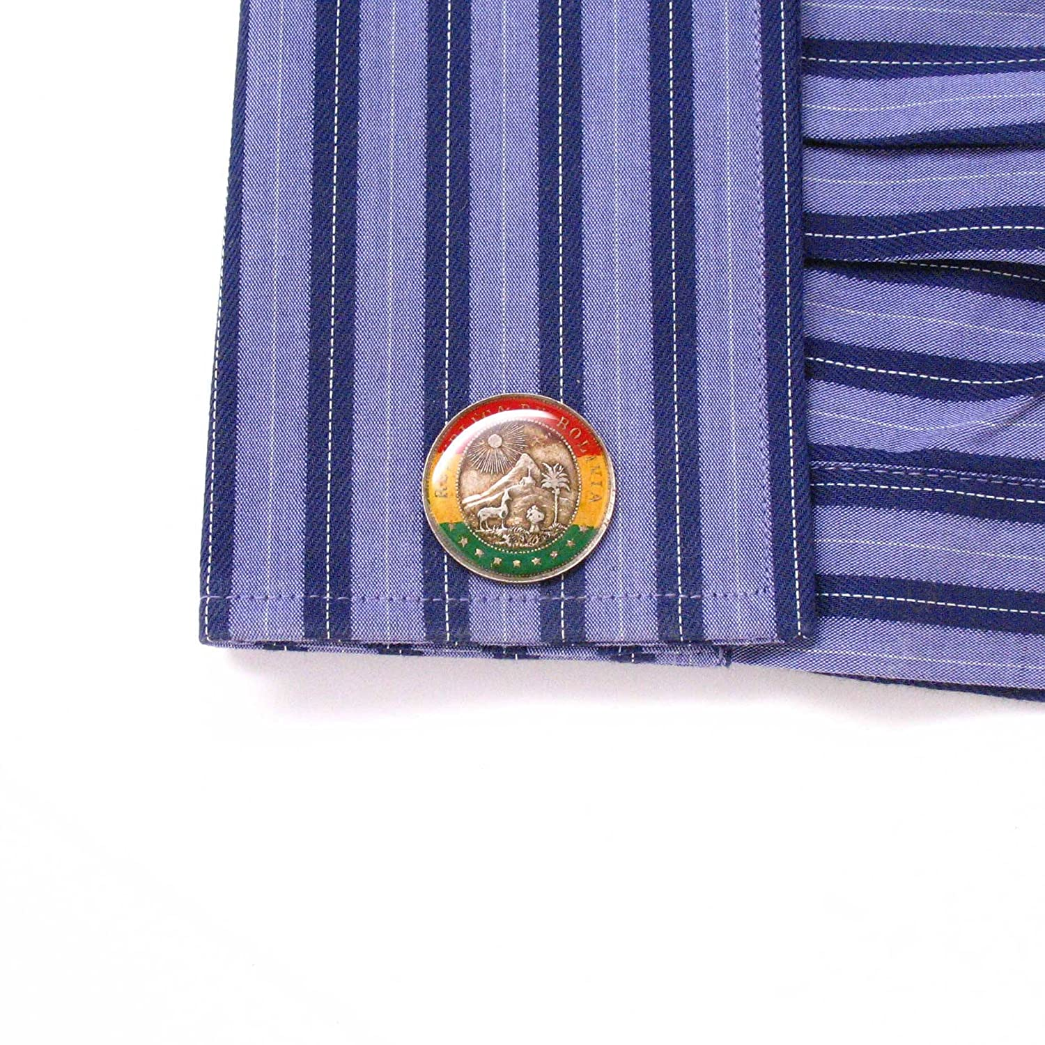 Amazon.com: The Traveling Penny Bolivia Coin Cufflinks Cuff Links Flag Mancuernas Mancuernillas Joya Bandera Hand Made Rare Unique Cochabamba Sucre La Paz ...