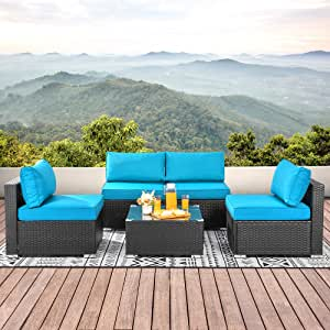 Walsunny 5pcs Patio Outdoor Furniture Sets,Low Back All-Weather Rattan Sectional Sofa with Tea Table&Washable Couch Cushions (Black Rattan)(Blue)