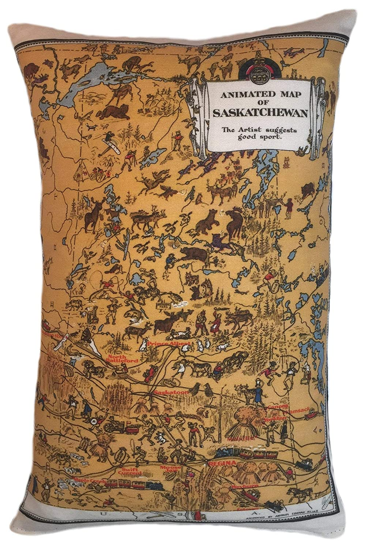 Saskatchewan Vintage Map Pillow