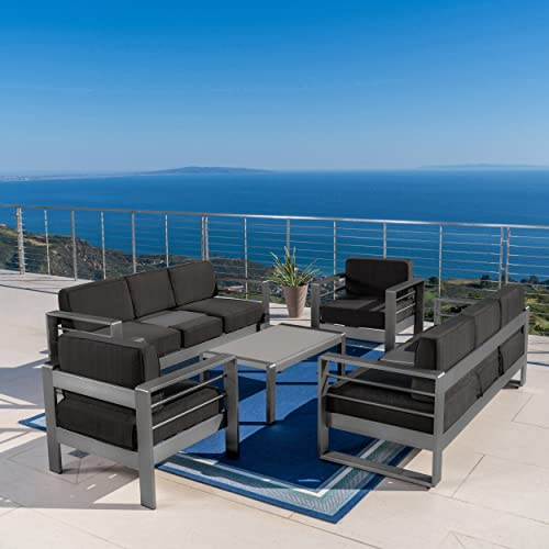 Coral Bay Outdoor Grey Aluminum 5 Piece Chat Set