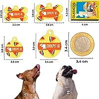 Placa de identificación para perros y gatos, PETID en aluminio resistente y liviano para tu mascota, personalizado grabado del nombre y teléfono. Formato Hueso y Redondo. Acompaña cadena, argolla y un dije super COOL (Hueso, Grande)