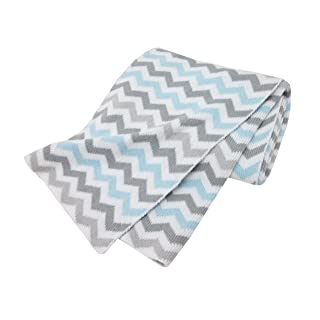 American Baby Company 100% Natural Cotton Sweater Knit Swaddle Blanket, Blue, Soft Breathable, for Boys and Girls