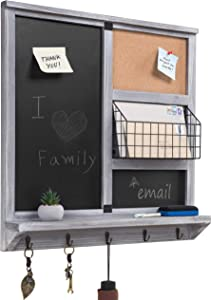MyGift Wall Mounted Vintage Gray Wood Chalkboard/Cork Board Sign with Mail Basket, Shelf, and 5 Key Hooks