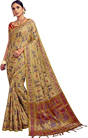 29548 Indian Sari Saree /& Blouse Bollywood New Pink Woven Banarasi Art Silk