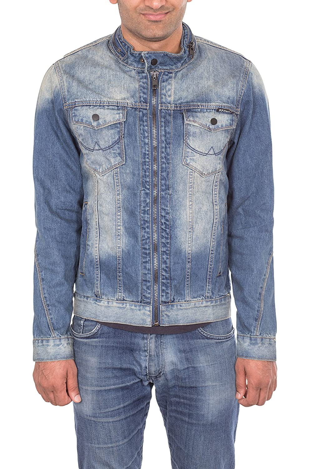Noroze Mens Washed Denim Trucker Jacket