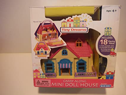 Amazon Com Tiny Dreams Carry Along Mini Doll House With Flip Out
