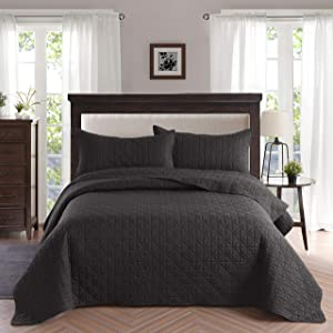 Exclusivo Mezcla 2-Piece Twin Size Quilt Set with One Pillow Sham, as Bedspread/Coverlet/Bed Cover(Grid Weave Black) - Soft, Lightweight, Reversible& Hypoallergenic
