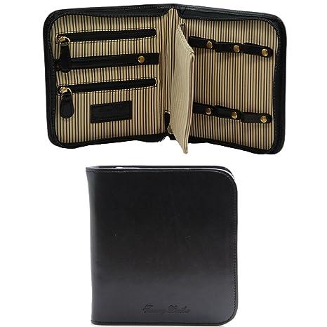 Tuscany Leather Porta relojes de viaje en piel Negro