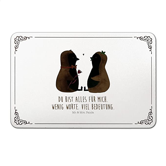 Mr. & Mrs. Placa para puerta Panda Pingüino Pareja - 100% fabricado en Alemania del Norte - Pingüino, Pingüinos, Amor, prueba de Pareja, Amor, Amor Regalo, ...