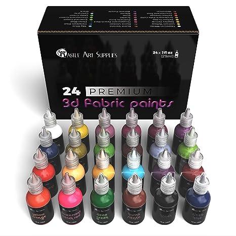 Juego de pintura de tela 3D, 24 colores vibrantes de primera calidad, perfectos para ropa, lienzo, cristal y madera, no tóxico, seguro para los niños
