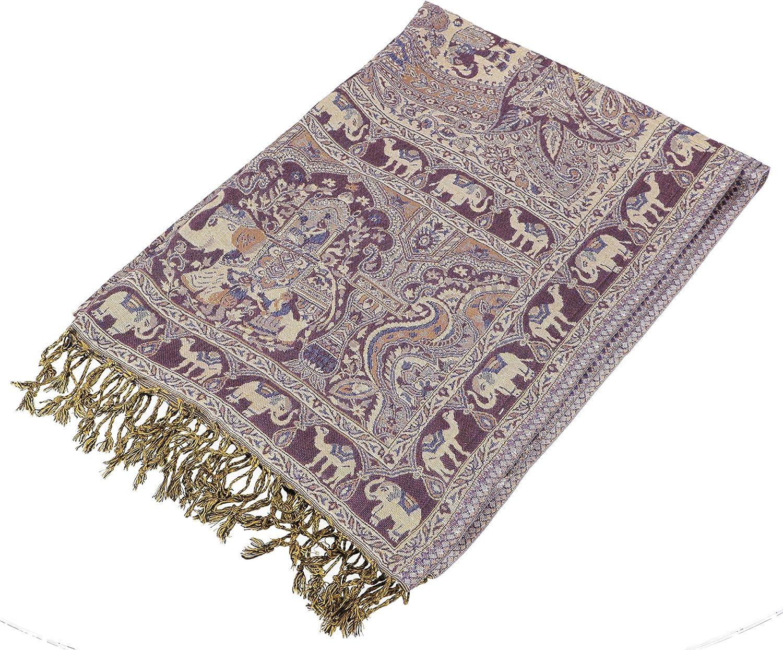 Sciarpa Sintetico Dimensione Indumenti:One Size Blu Sciarpa Sciarpa Indiana in Pashmina Stola Boho con Motivo Paislay GURU-SHOP Sciarpe
