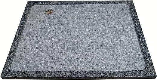 Plato de ducha de piedra natural en granito, 120 x 90 cm, antracita ...