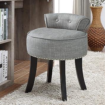Amazon Com Taylor Grey Linen Vanity Stool Nailhead Trim Roll Back Button Tufted Bedroom Furniture Decor