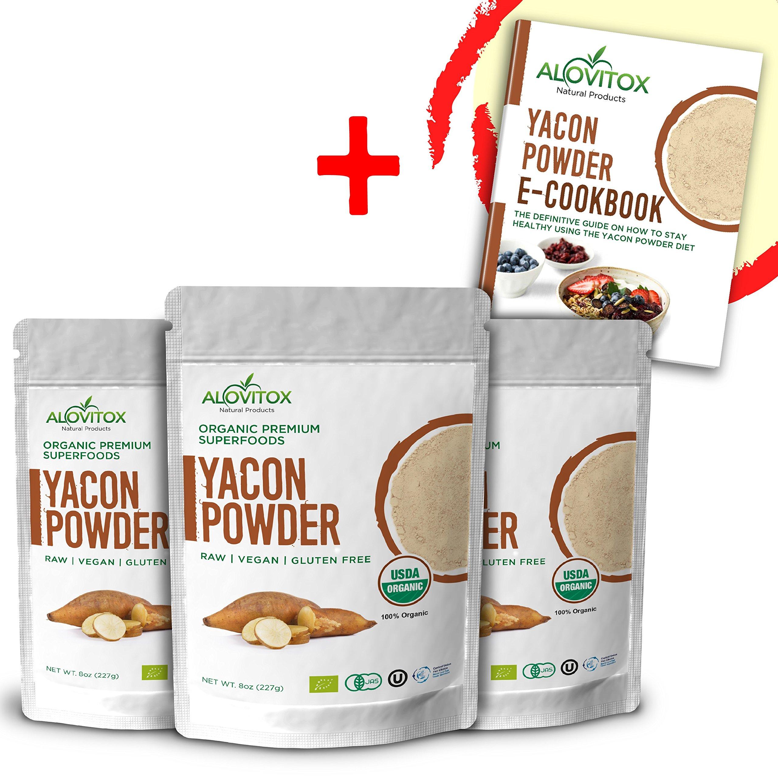 Yacon Root Powder Natural Sweetener - Sugar Substitute Sugar-Free Keto Paleo and Vegan - Wellness and Weightloss Prebiotic Diet Friendly Pure Raw Plant Extract - USDA Organic 8oz by Alovitox (3 Pack)