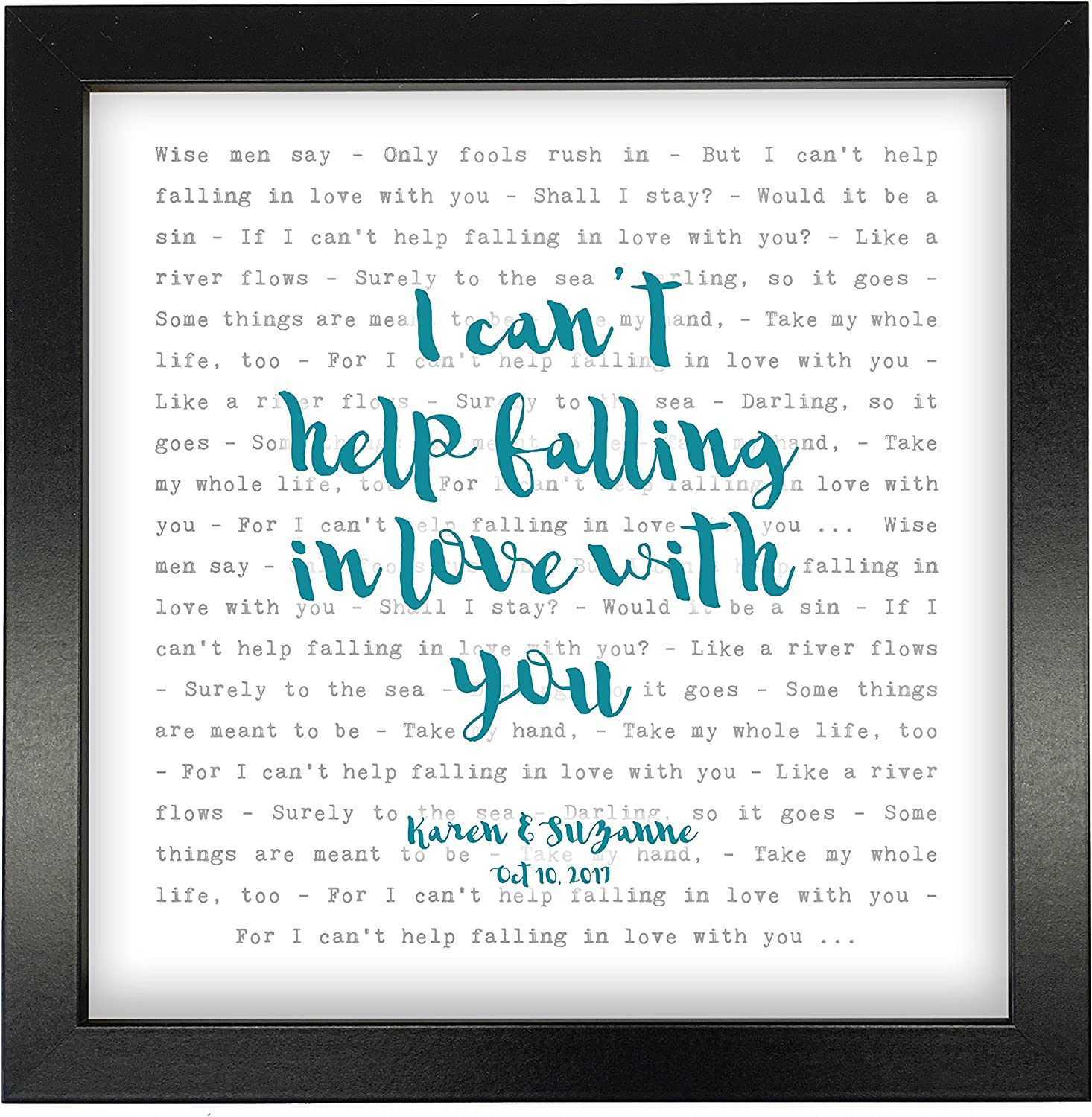 Elvis Presley Can/'t Help Falling In Love Rustic Script Song Lyric Quote Print