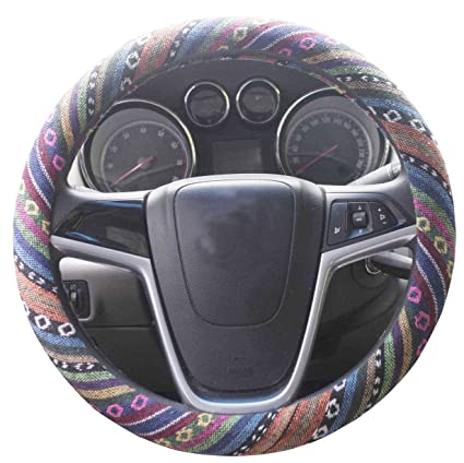 Mayco Bell Automotive Ethnic Flax Cloth Cute Elephant Universal Car Steering Wheel Cover