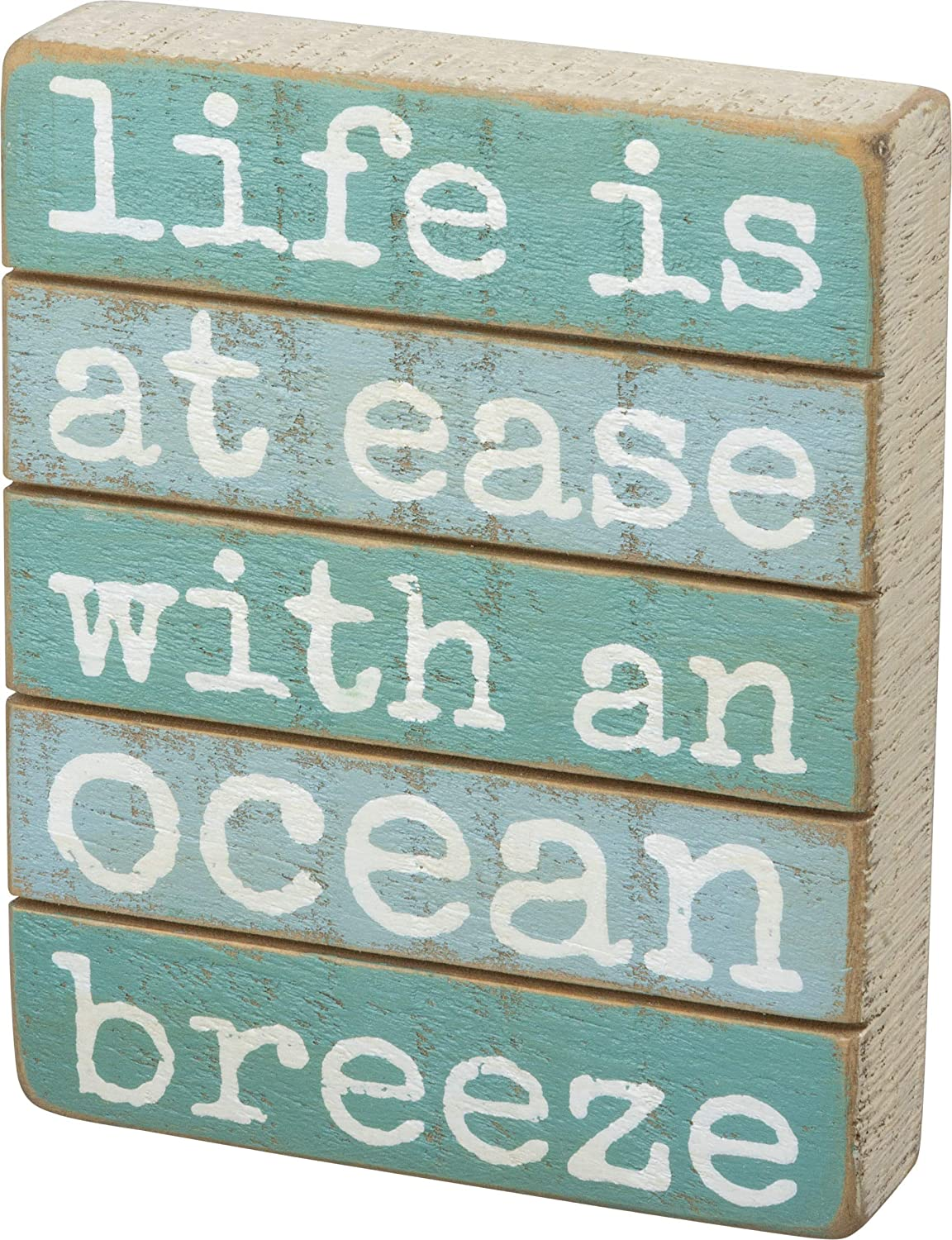 Primitives by Kathy 102968 Slat Wood Box Sign, 4 x 5-Inches, at Ease with an Ocean Breeze