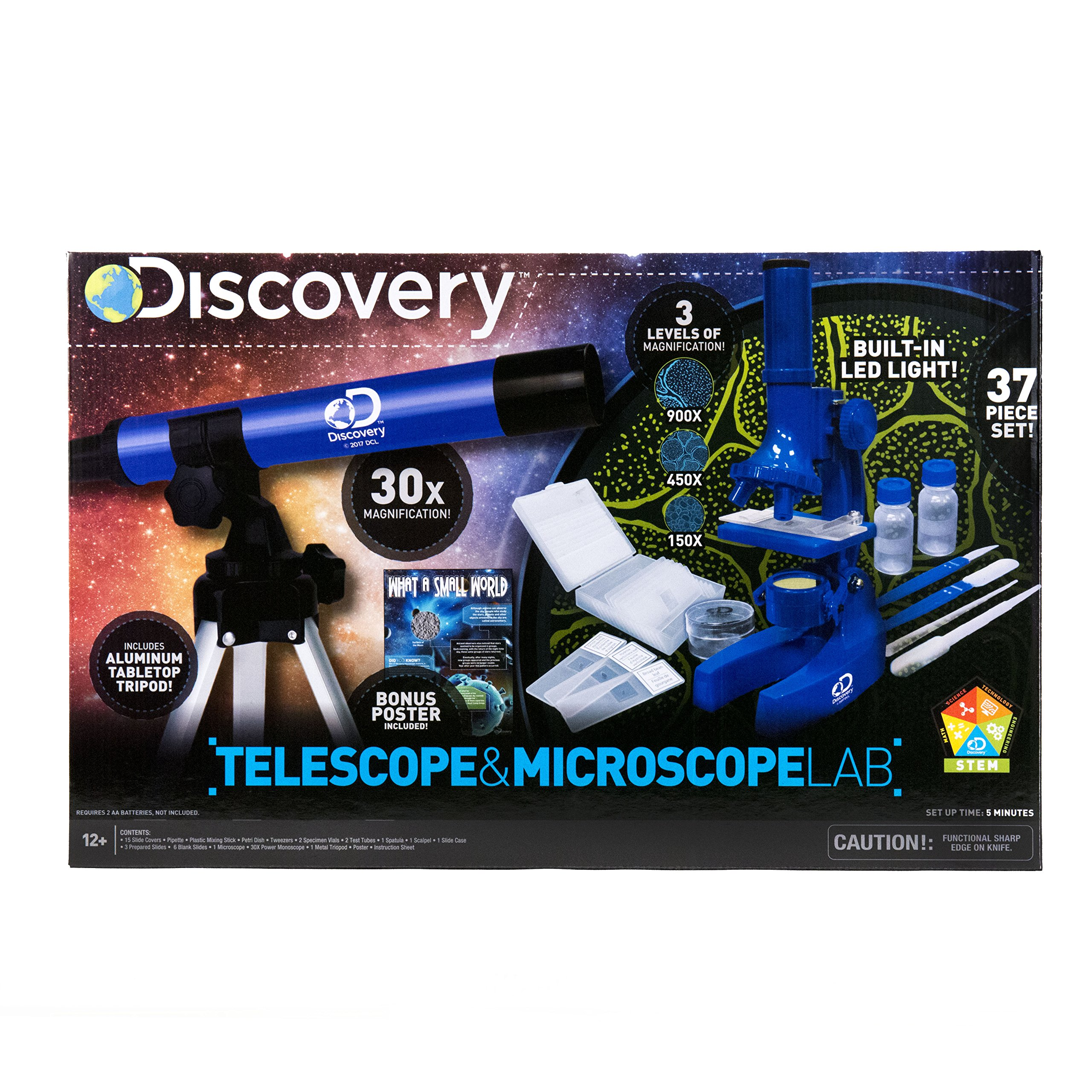 Discovery Telescope & Microscope Lab by Horizon Group USA, Great Stem Science Kit, Includes Telescope with Tripod & 900X Magnifying Microscope by Discovery