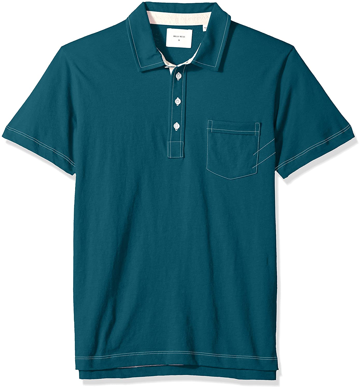 Billy Reid Mens Short Sleeve Pensacola Polo Shirt with Pocket
