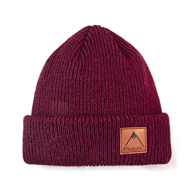 27fe433af35 Amazon.com  Psychi Knitted Bobble Mixed Yarn Beanie Hat Mens Ladies Unisex  Wooly Winter Warm Sports Climbing (Burgundy)  Clothing