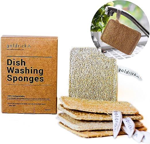 Goldrick - Esponja 100% Biodegradable para Lavar Platos, Estropajo ...