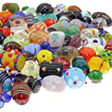 Fun-Weevz 120-140 PCS Assorted Glass Beads for Jewelry Making Adults, Bulk Glass Beads for Crafts, Lampwork Murano Bead…