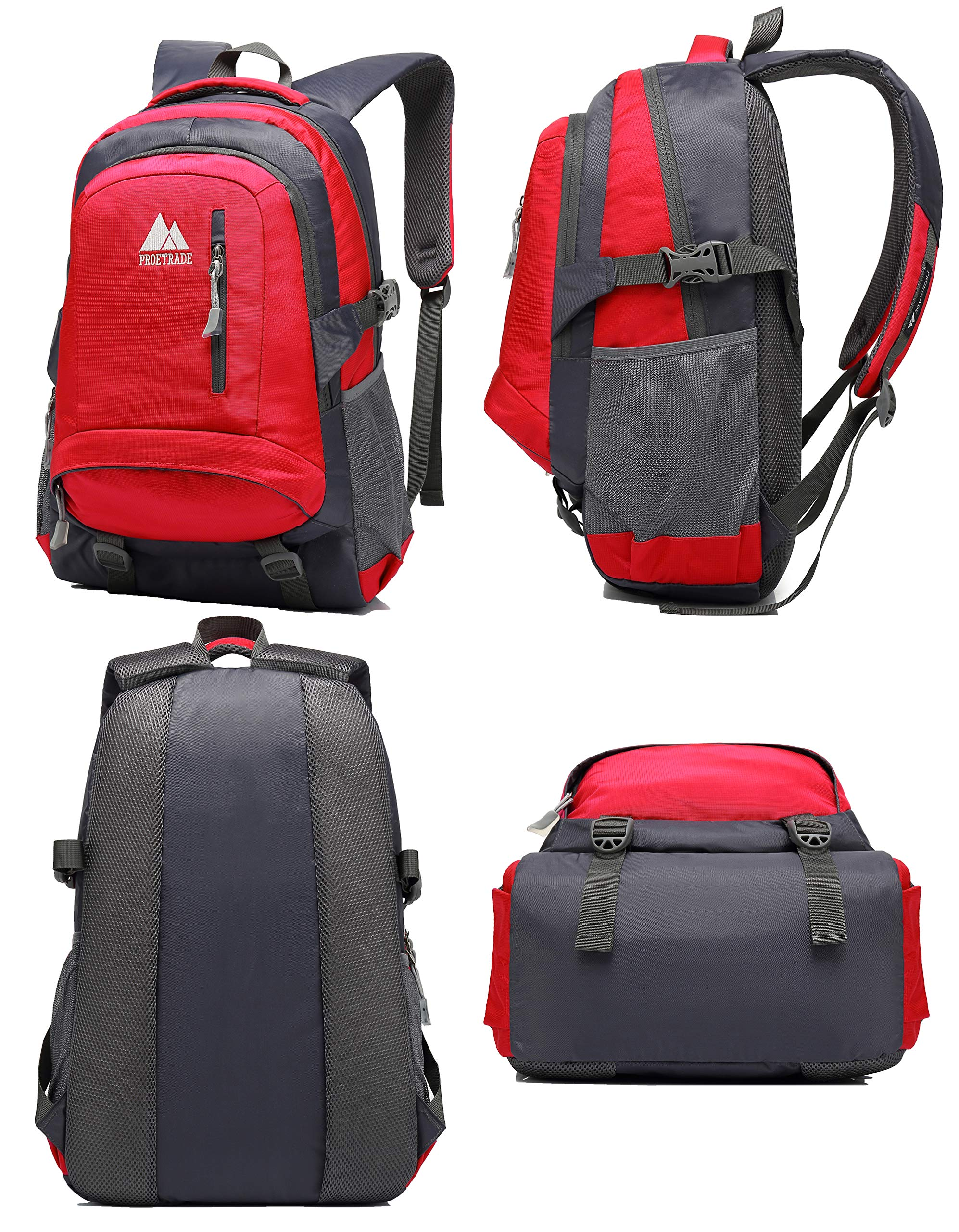 School Backpack BookBag For College Travel Hiking Fit Laptop Up to 15.6 Inch Water Resistant (Red) by ProEtrade (Image #5)