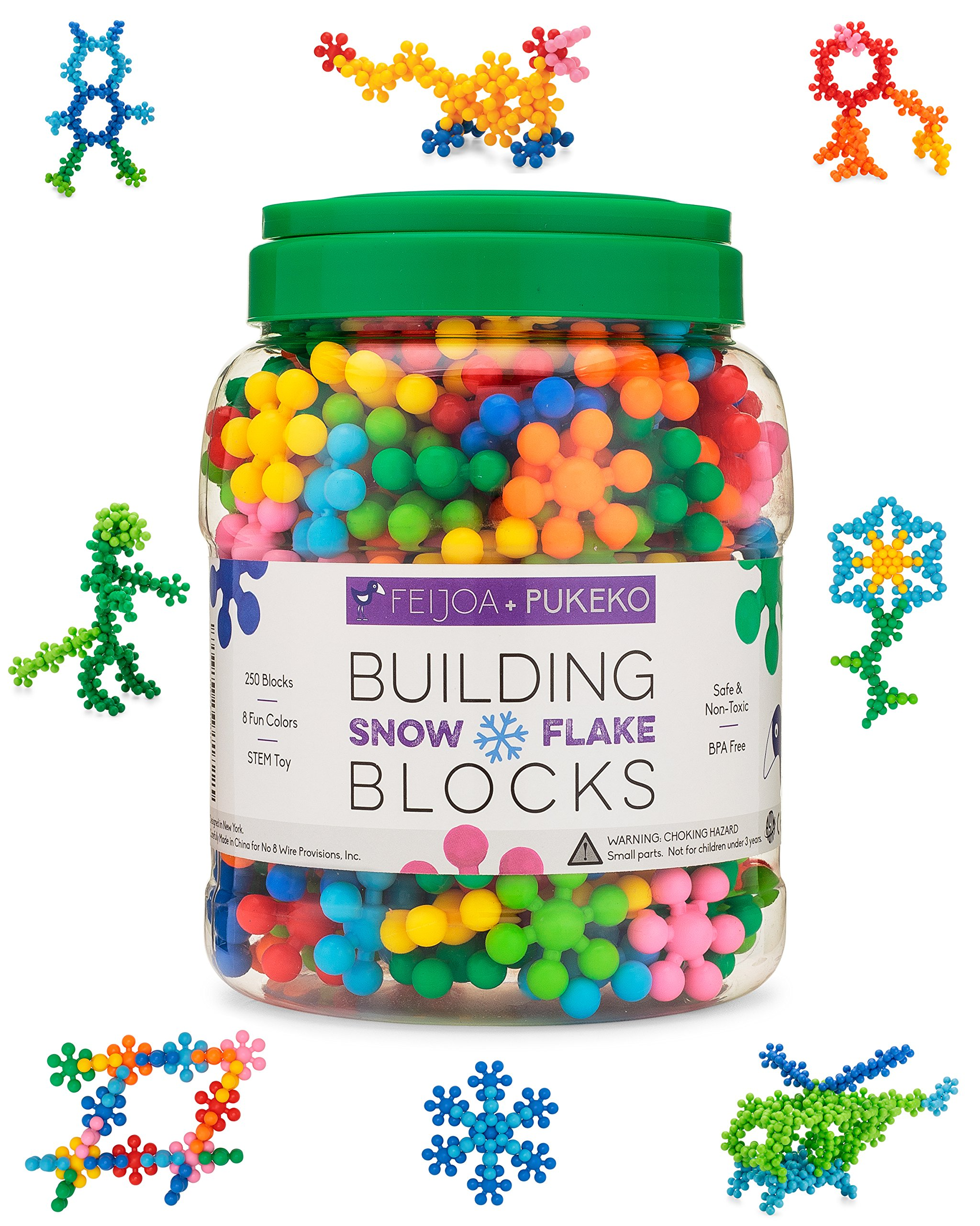 Snowflake Building Blocks Kids STEM Educational Toys - 250 Piece Mega Set of Plastic Interlocking Discs for Preschool, Toddler and School Boys and Girls - Creative & Development Toy - Feijoa + Pukeko