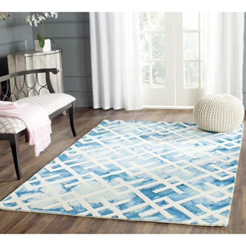 Safavieh Dip Dye Collection DDY677G Handmade Geometric Watercolor Blue and Ivory Wool Area Rug 5 x 8