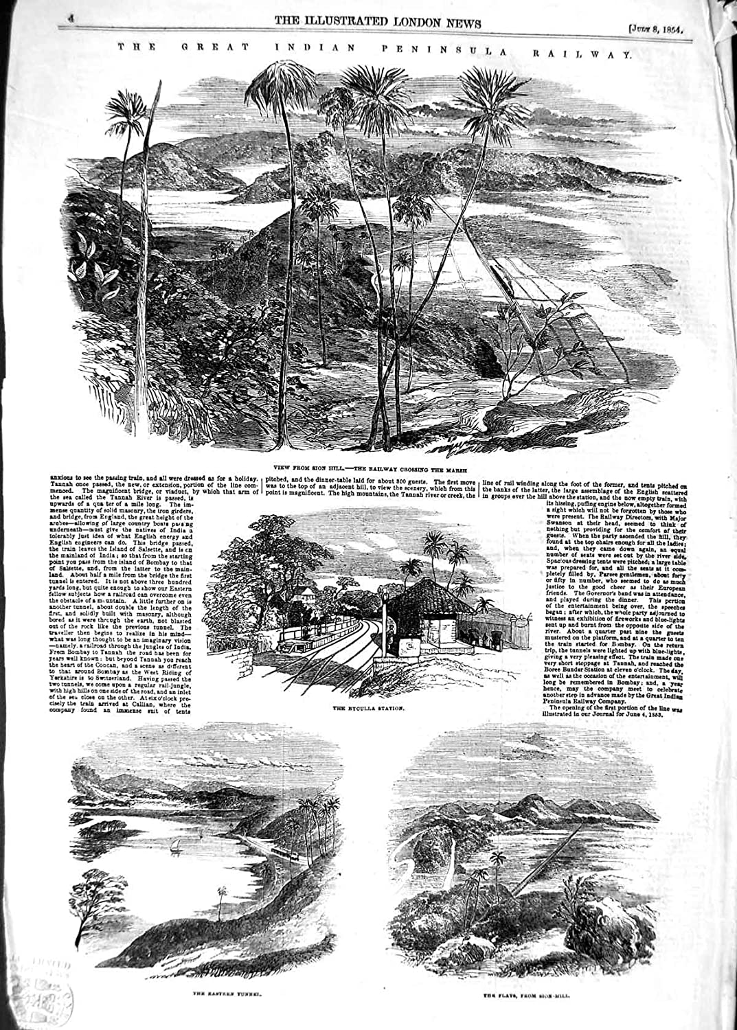 Antique Print 1854 Sion Hill Railwau Indian Railway Byculla Station  004P125: Amazon.co.uk: Kitchen & Home