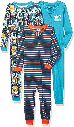 Spotted Zebra Pijamas de Algodón de Ajuste Cómodo Para Dormir Sin Pies, Paquete de 3 - pajama-sets Unisex niños: Amazon.es: Ropa y accesorios