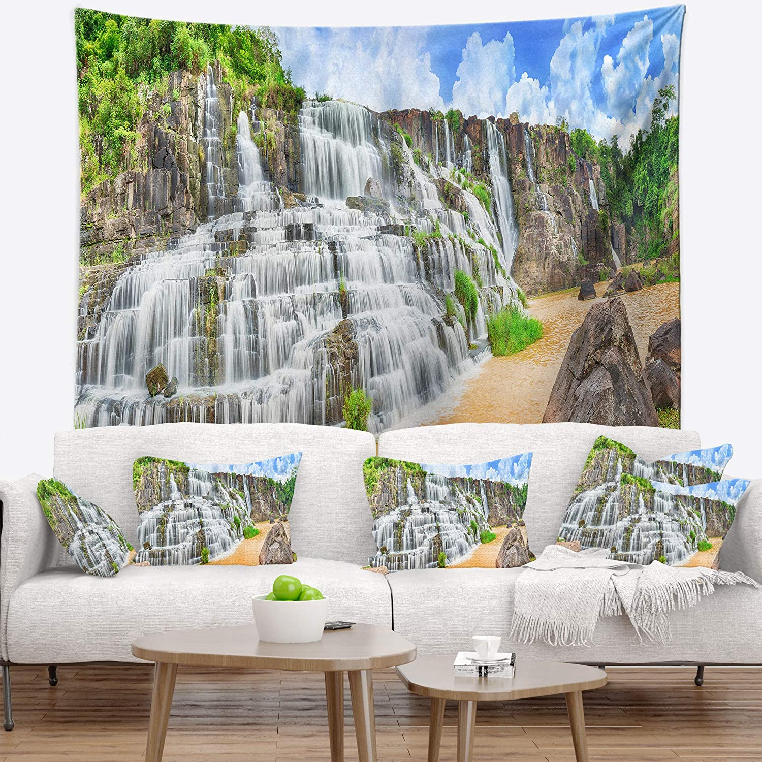 80 x 68 Created On Lightweight Polyester Fabric Designart TAP6484-80-68  Pongour Waterfall Photography Blanket D/écor Art for Home and Office Wall Tapestry x Large