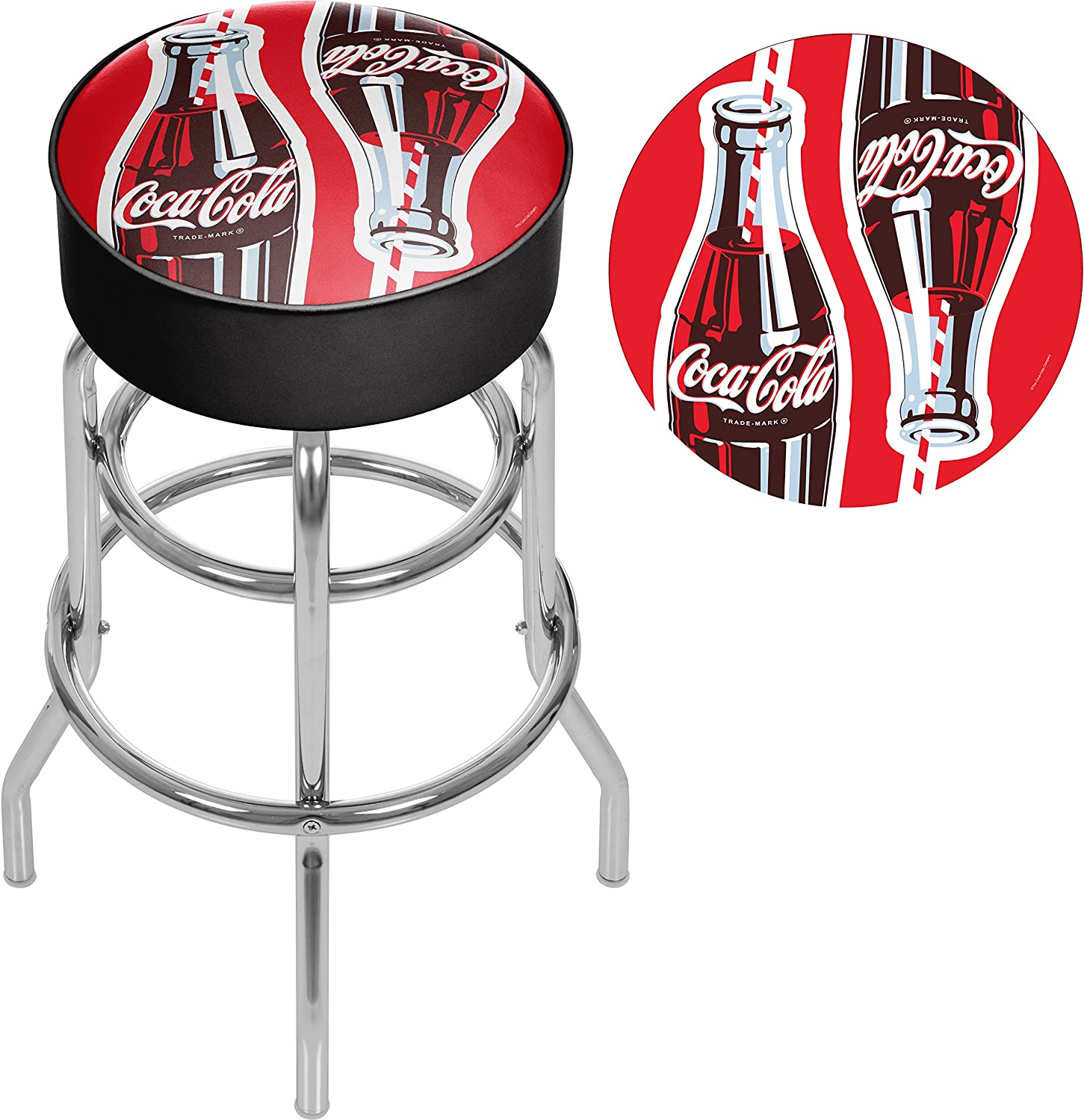 Trademark Gameroom Coke Chrome bar Stool with Swivel Coca-Cola Twin Bottles with Straw Bottle Art