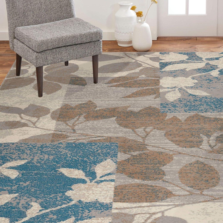 Home Dynamix Tremont Hillsboro Transitional Area Rug, Floral Beige/Blue 7'10