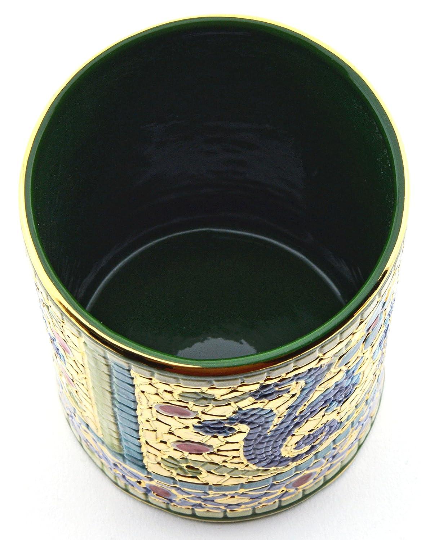 Art Escudellers LAPICERO Ceramica Pintado a Mano con Oro de 24K, Decorado al Estilo BIZANTINO Verde. 7,5cm x 7,5cm x 10,5cm: Amazon.es: Hogar