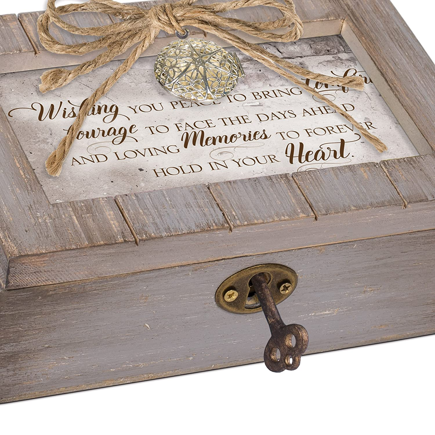 Cottage Garden Memories Forever in Your Heart Grey Distressed Locket Petite Music Box Plays Edelweiss