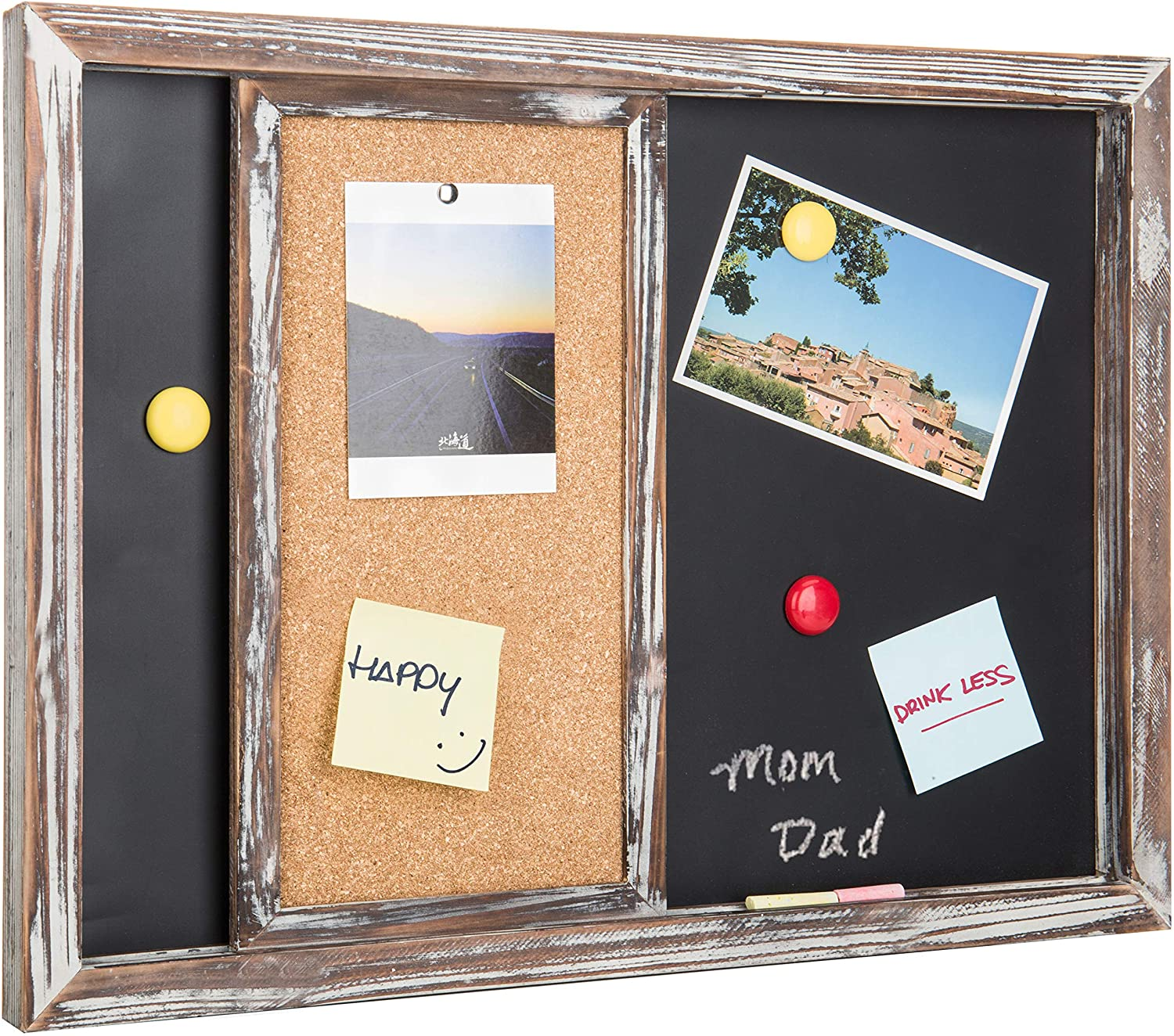 Mygift Rustic Gray Wood Wall Mounted Magnetic Chalkboard Sliding Cork Board Amazon Co Uk Office Products