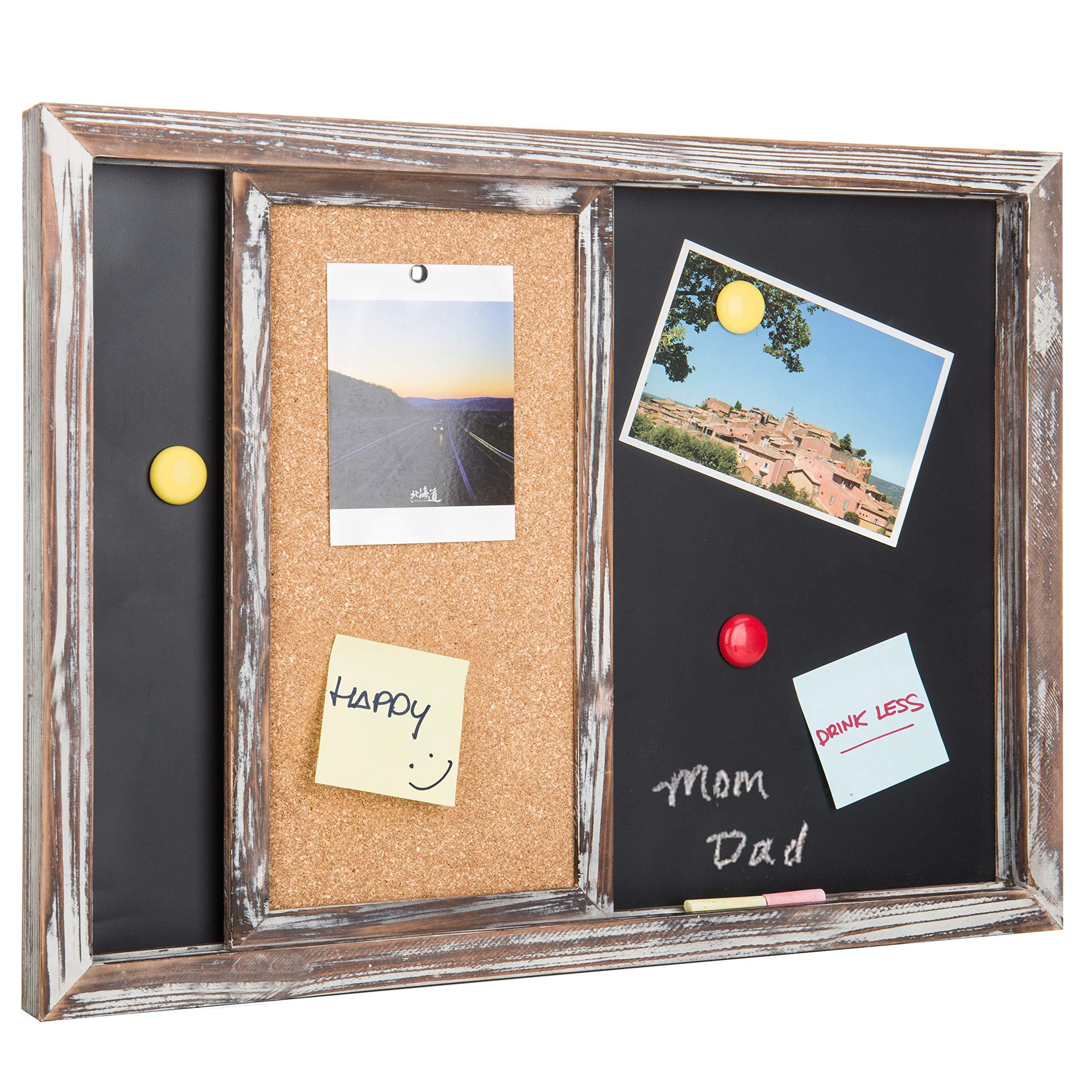 MyGift Rustic Gray Wood Wall-Mounted Magnetic Chalkboard & Sliding Cork Board